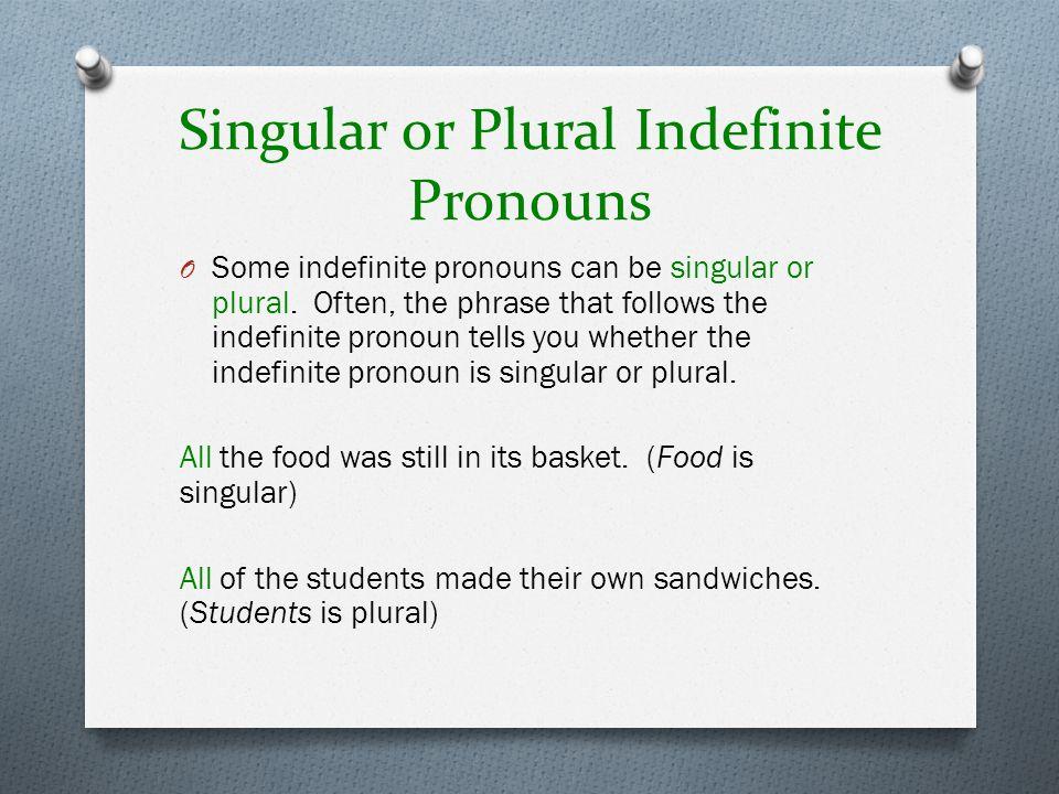 Singular or Plural Indefinite Pronouns
