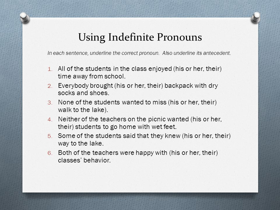 Using Indefinite Pronouns