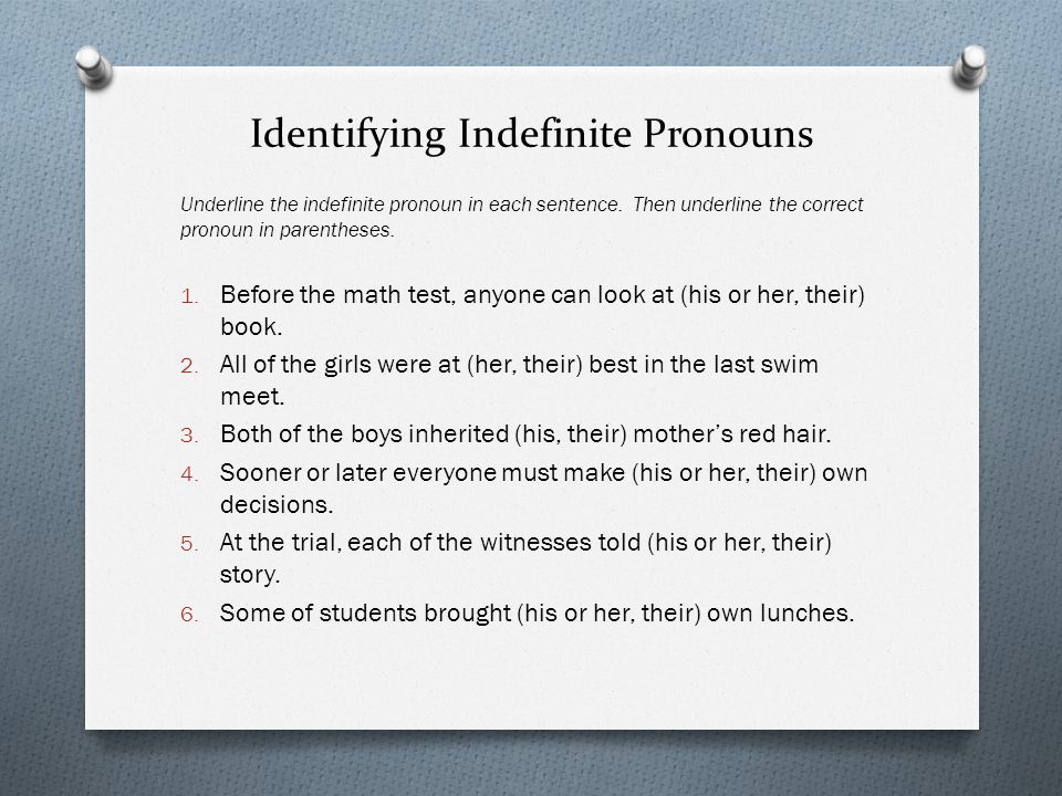 Identifying Indefinite Pronouns