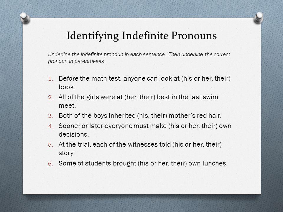 Identifying Indefinite Pronouns
