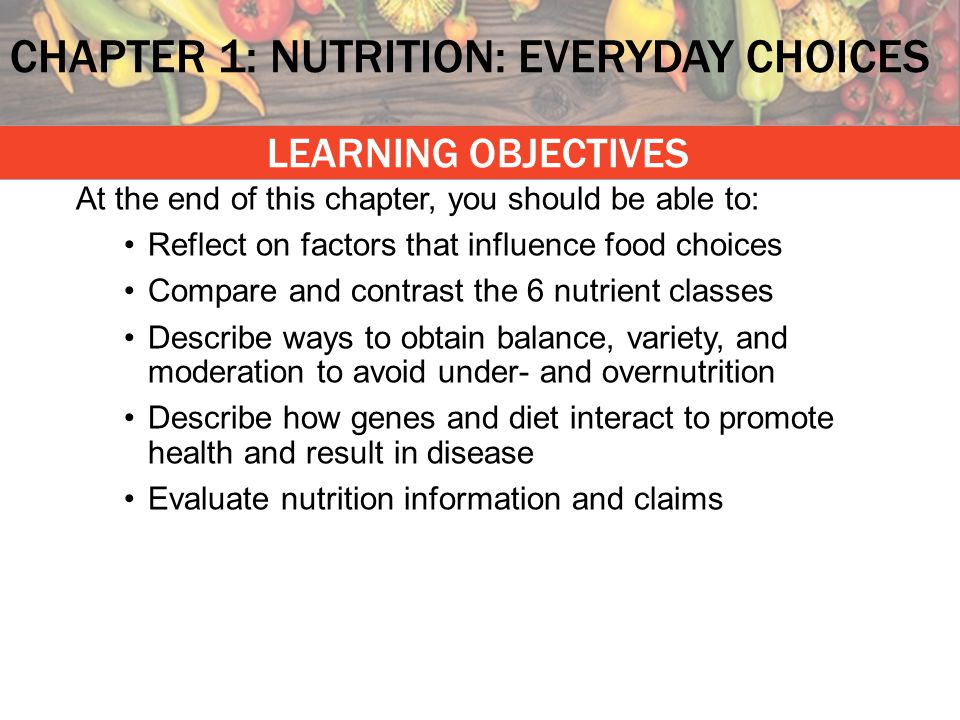 CHAPTER 1: NUTRITION: EVERYDAY CHOICES