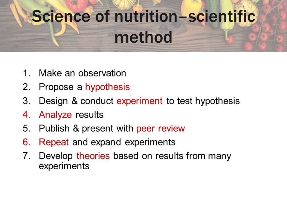 Science of nutrition–scientific method