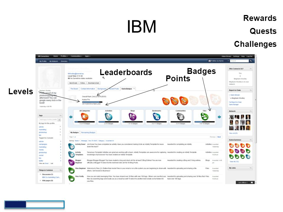 IBM Rewards Quests Challenges Badges Leaderboards Points Levels