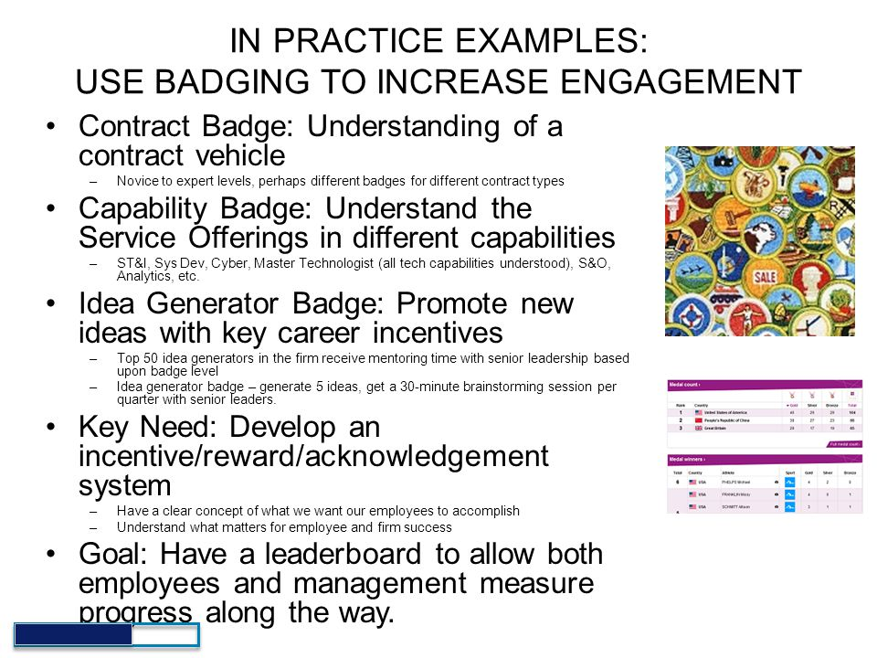 IN PRACTICE EXAMPLES: USE BADGING TO INCREASE ENGAGEMENT