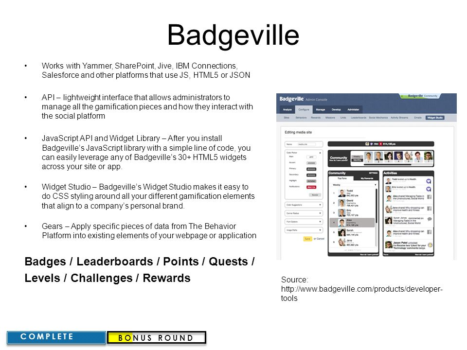 Badgeville Badges / Leaderboards / Points / Quests /