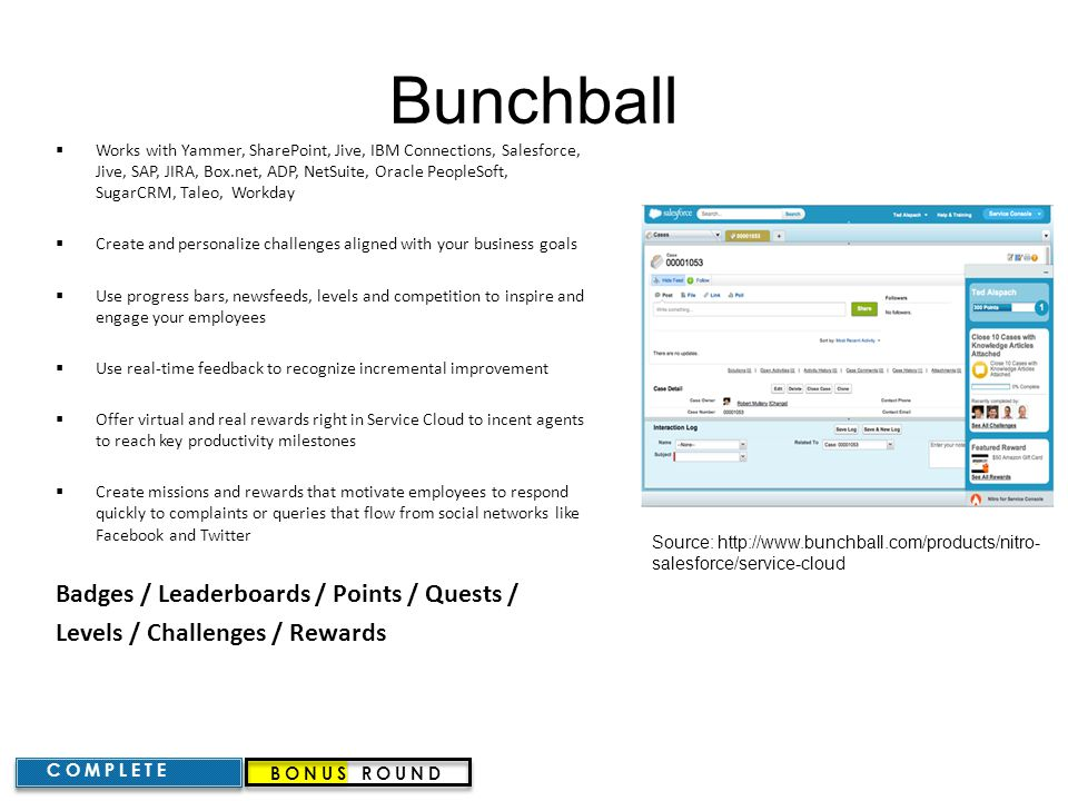 Bunchball Badges / Leaderboards / Points / Quests /