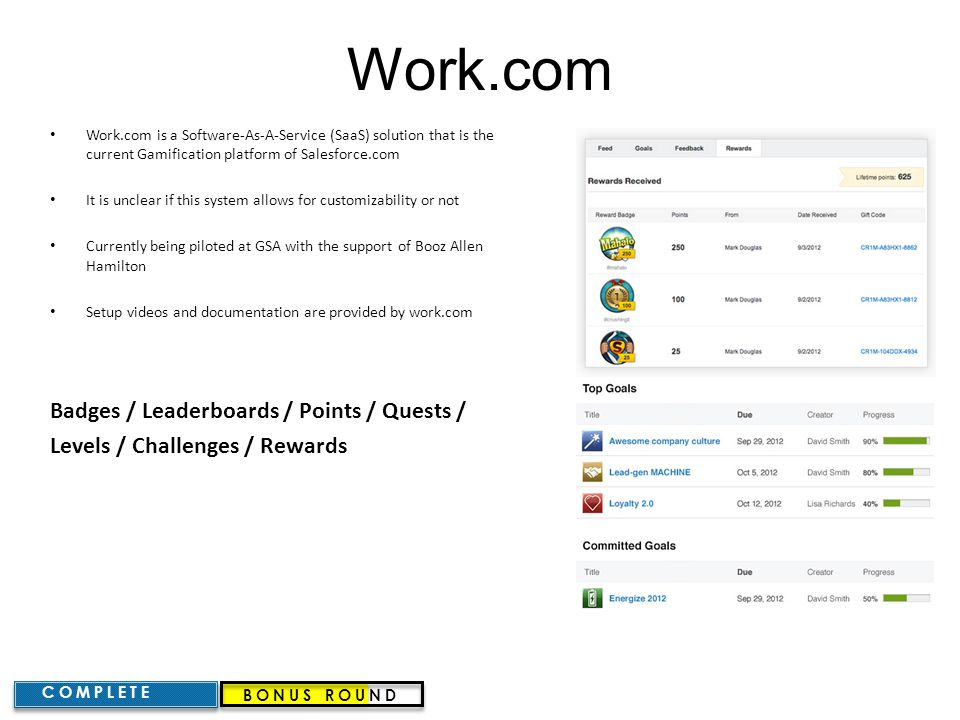 Work.com Badges / Leaderboards / Points / Quests /