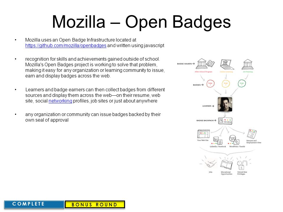 Mozilla – Open Badges Mozilla uses an Open Badge Infrastructure located at https://github.com/mozilla/openbadges and written using javascript.