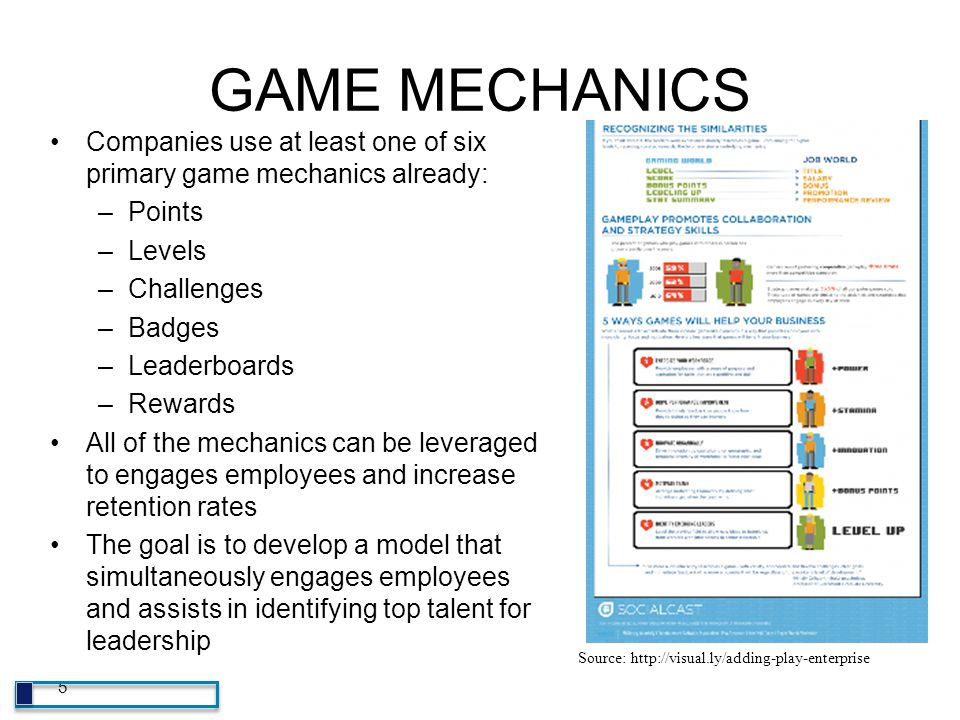 GAME MECHANICS Companies use at least one of six primary game mechanics already: Points. Levels. Challenges.
