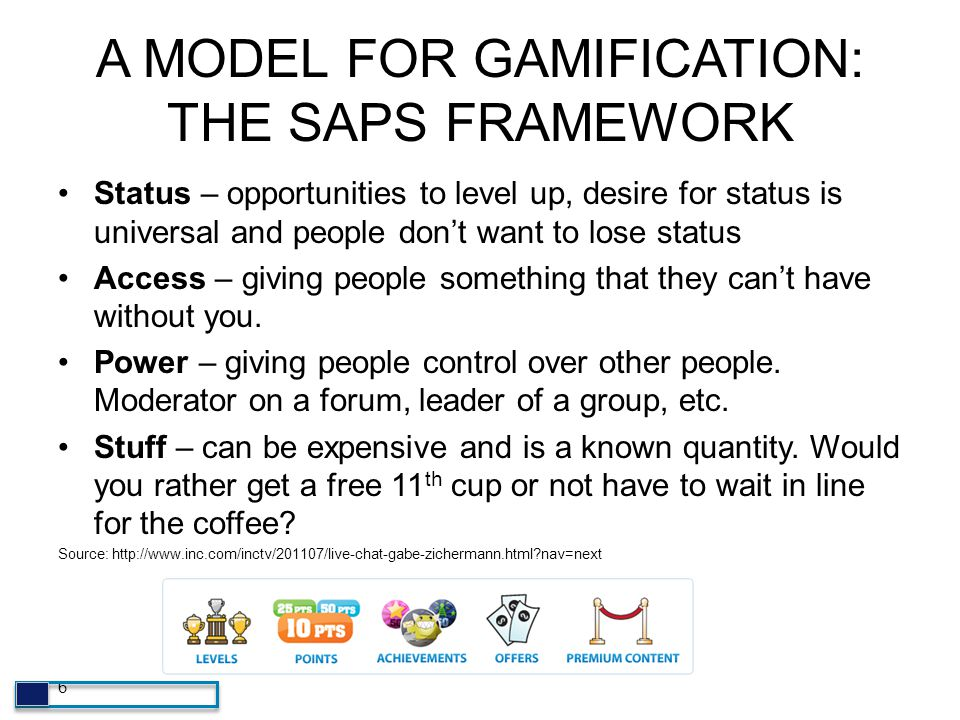 A MODEL FOR GAMIFICATION: THE SAPS FRAMEWORK