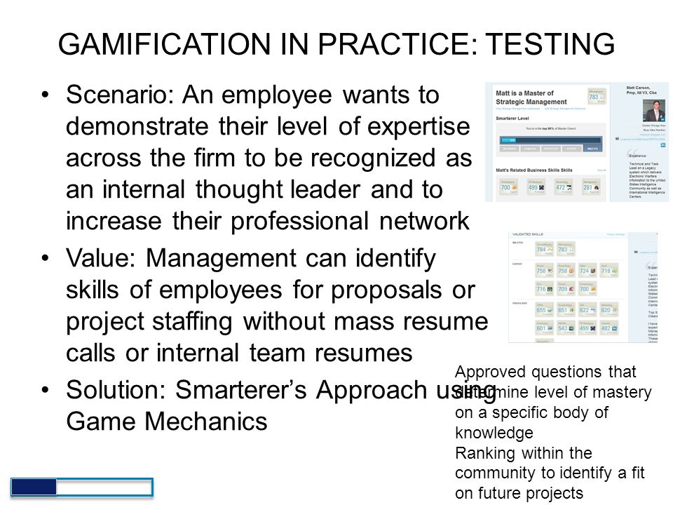 GAMIFICATION IN PRACTICE: TESTING