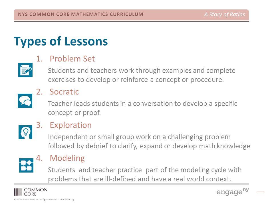 Types of Lessons Problem Set Socratic Exploration Modeling