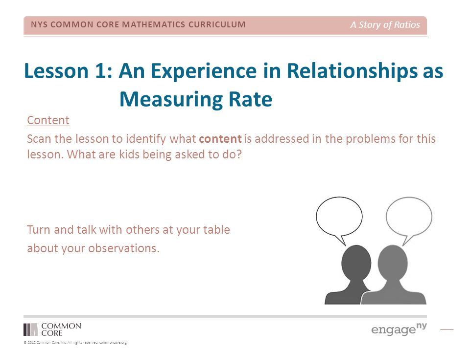 Lesson 1: An Experience in Relationships as Measuring Rate