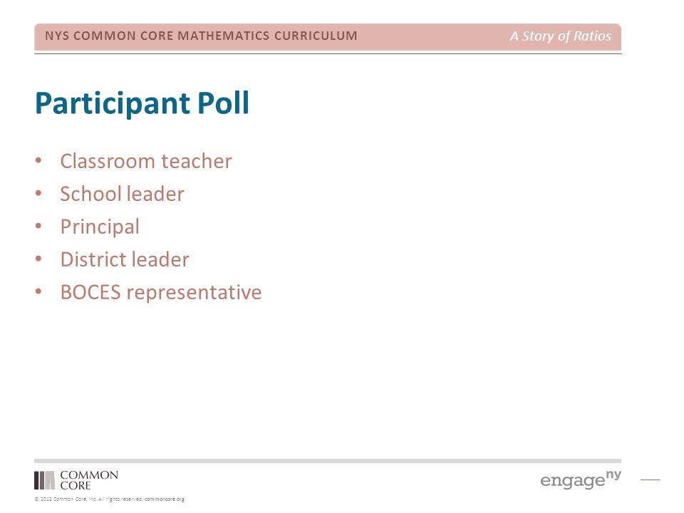 Participant Poll Classroom teacher School leader Principal