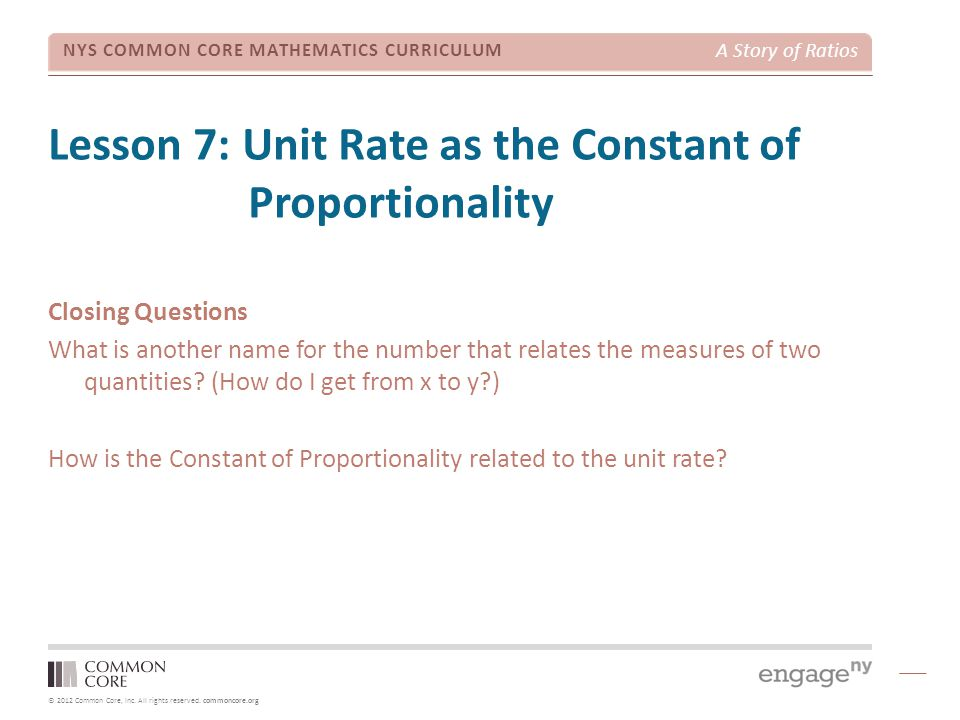 Lesson 7: Unit Rate as the Constant of Proportionality