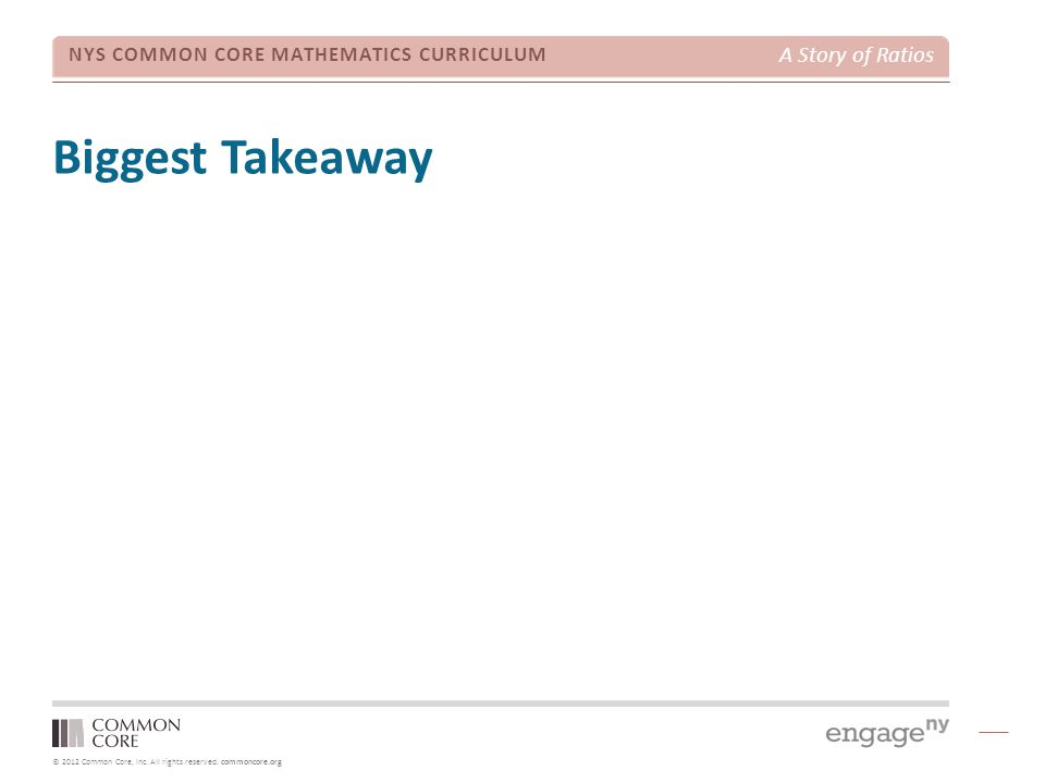 Biggest Takeaway TIME ALLOTTED FOR THIS SLIDE: 5 minutes