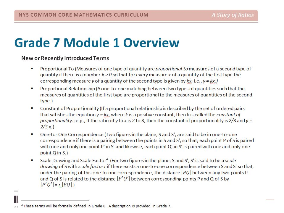 Grade 7 Module 1 Overview TIME ALLOTTED FOR THIS SLIDE: 3 minutes