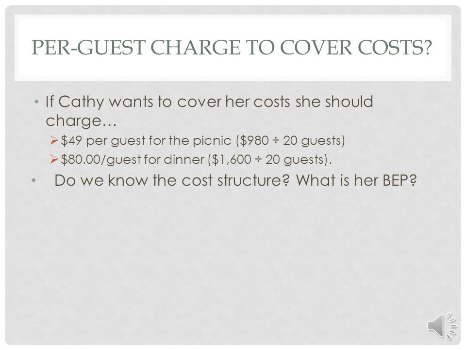 Per-guest charge to cover costs