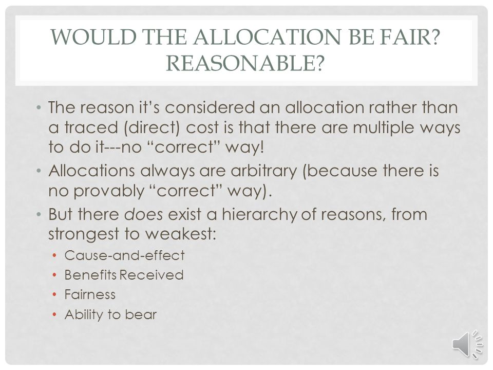 Would the allocation be fair Reasonable