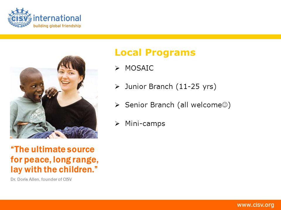 Local Programs MOSAIC Junior Branch (11-25 yrs)
