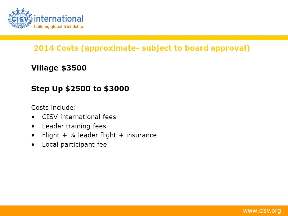 2014 Costs (approximate- subject to board approval)
