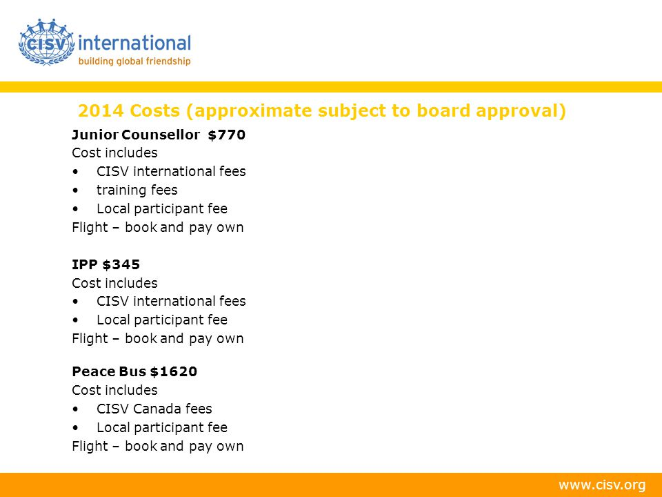 2014 Costs (approximate subject to board approval)