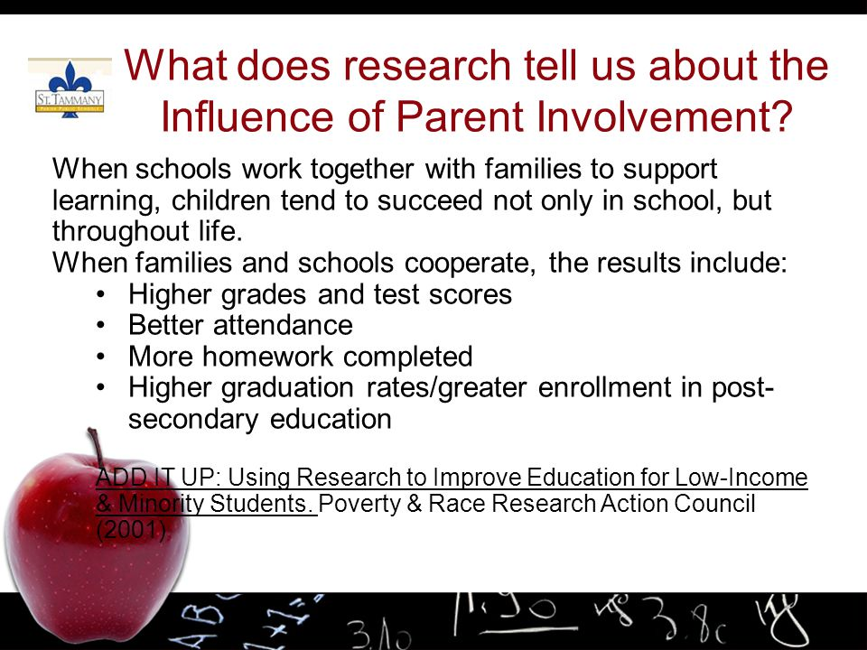 What does research tell us about the Influence of Parent Involvement
