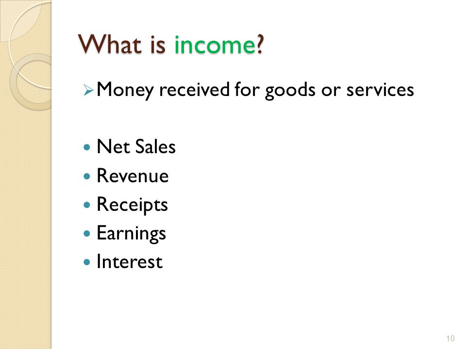 What is income Money received for goods or services Net Sales Revenue