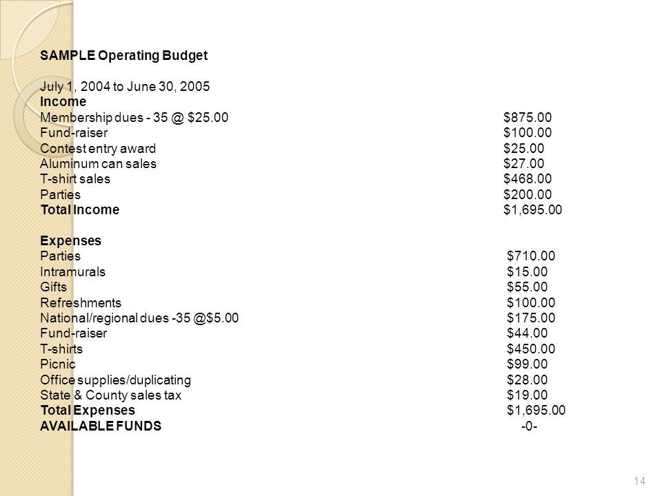 SAMPLE Operating Budget