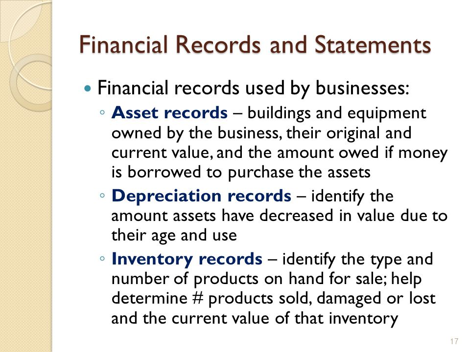 Financial Records and Statements