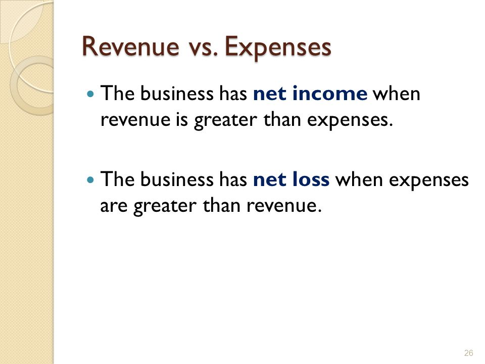 Revenue vs. Expenses The business has net income when revenue is greater than expenses.