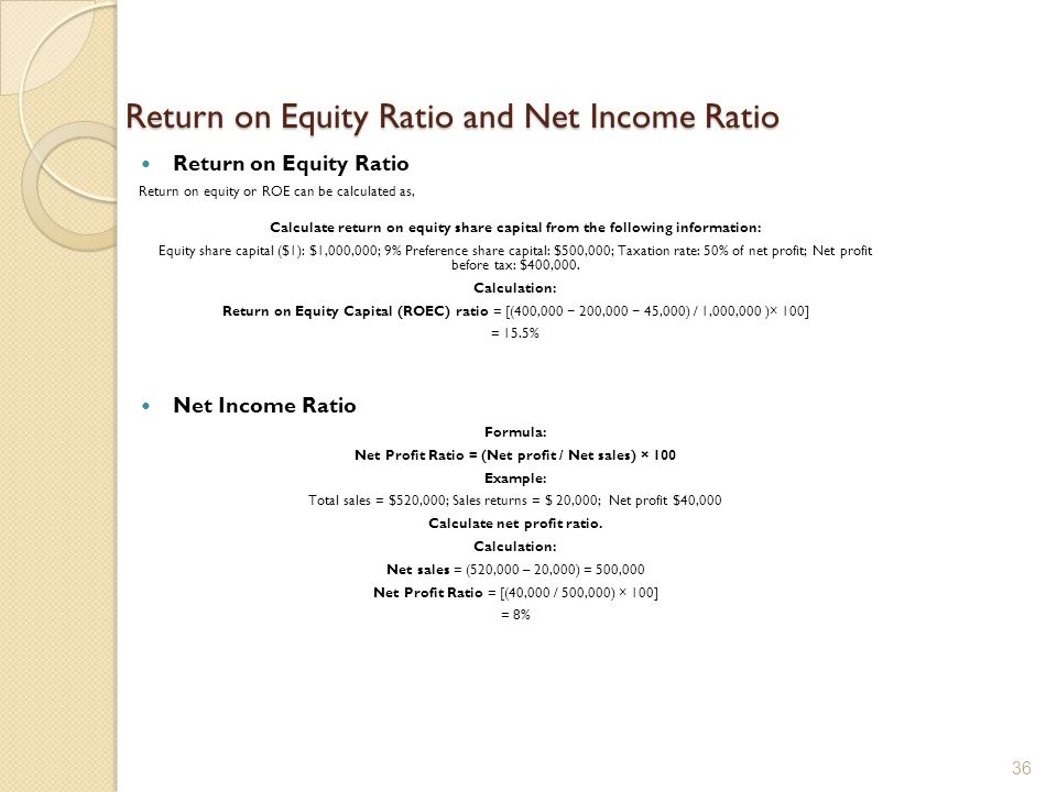 Return on Equity Ratio and Net Income Ratio