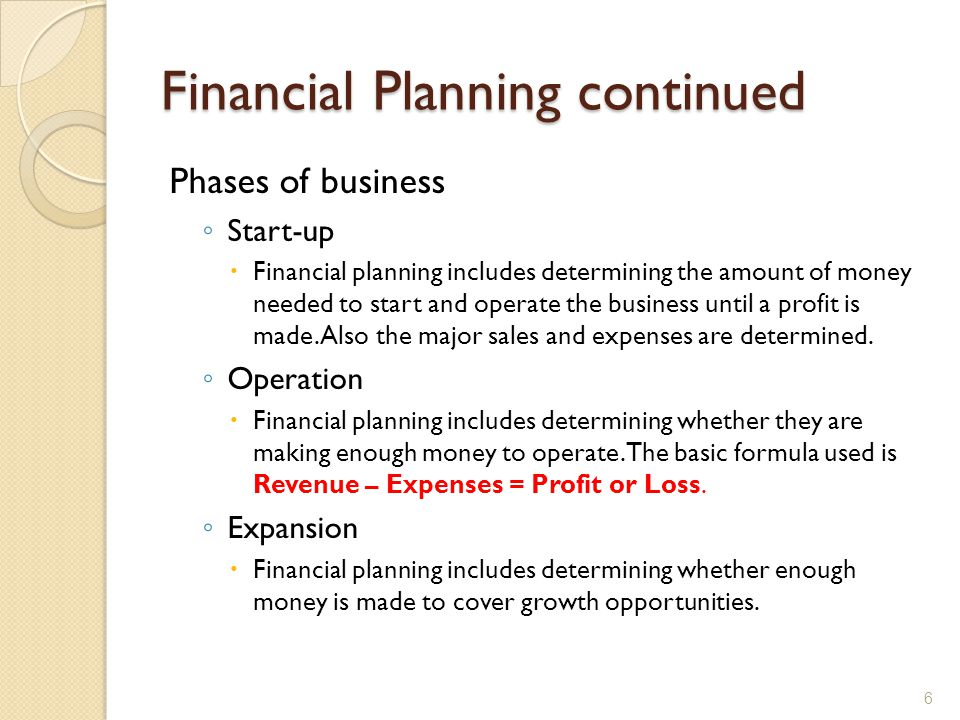 Financial Planning continued