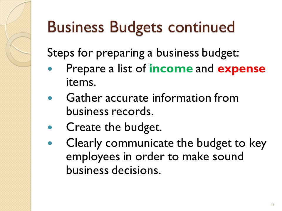Business Budgets continued