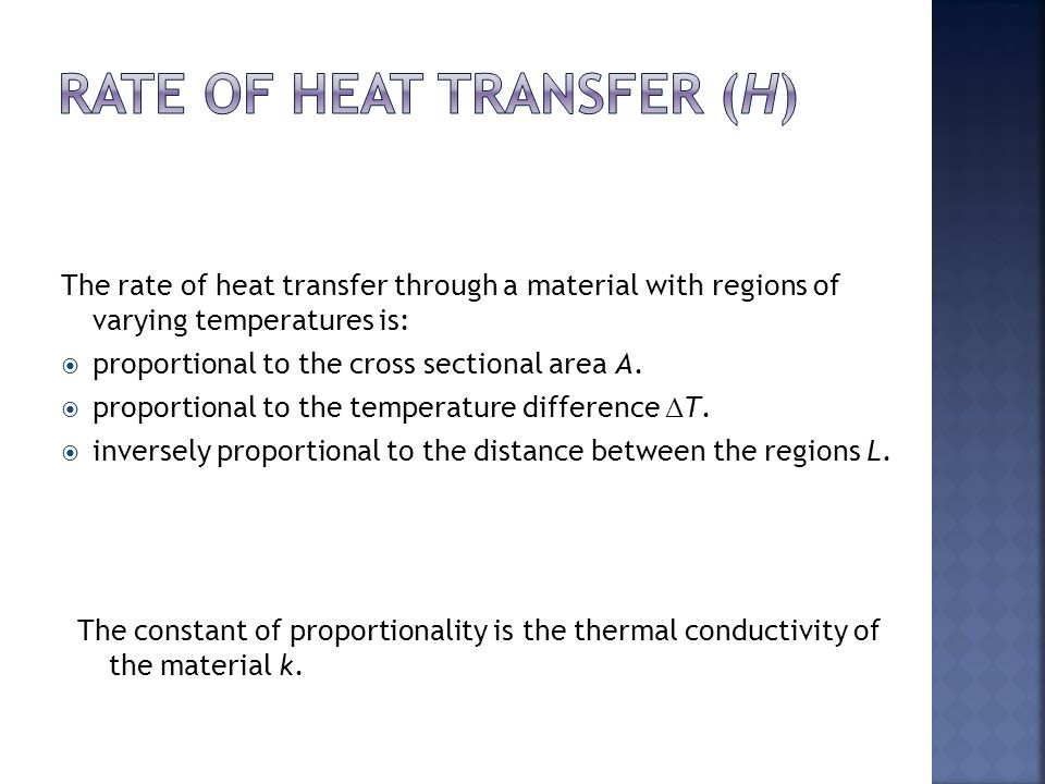 Rate of Heat Transfer (H)