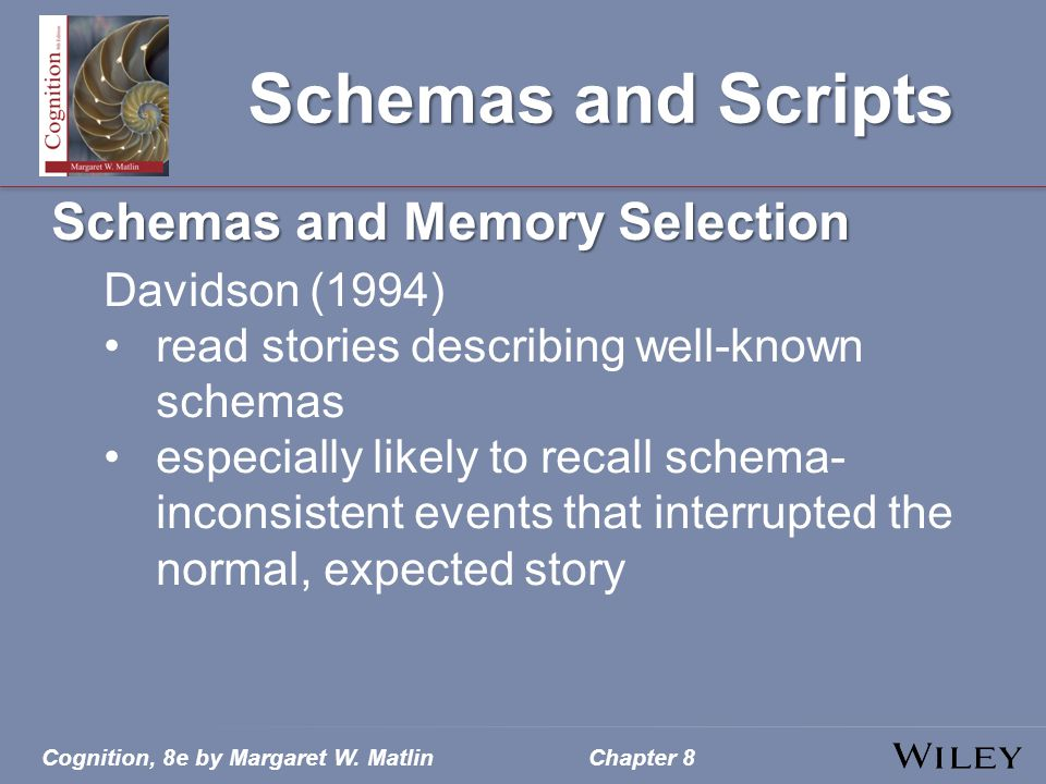 Schemas and Scripts Schemas and Memory Selection Davidson (1994)