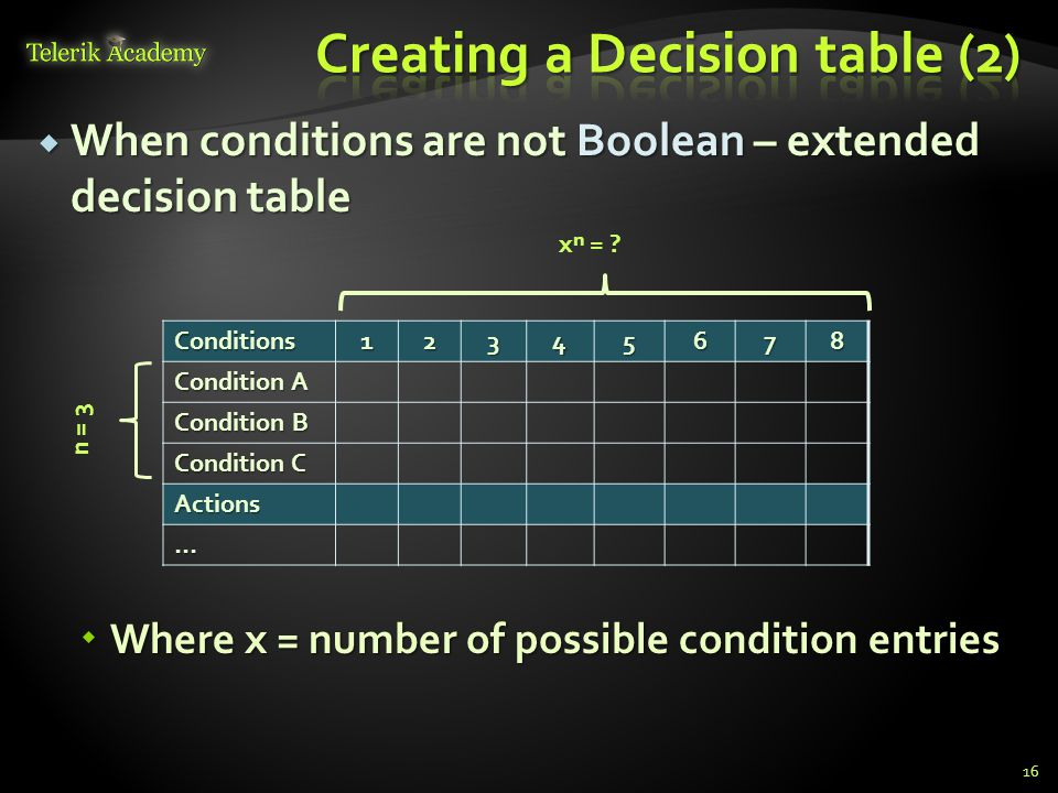Creating a Decision table (2)