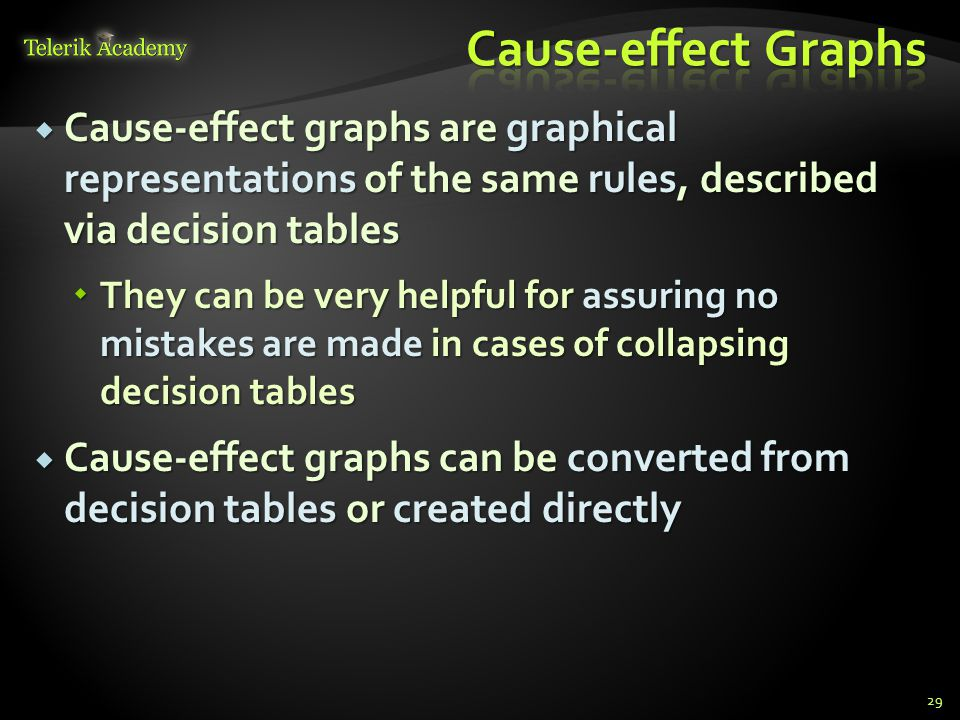 Cause-effect Graphs Cause-effect graphs are graphical representations of the same rules, described via decision tables.