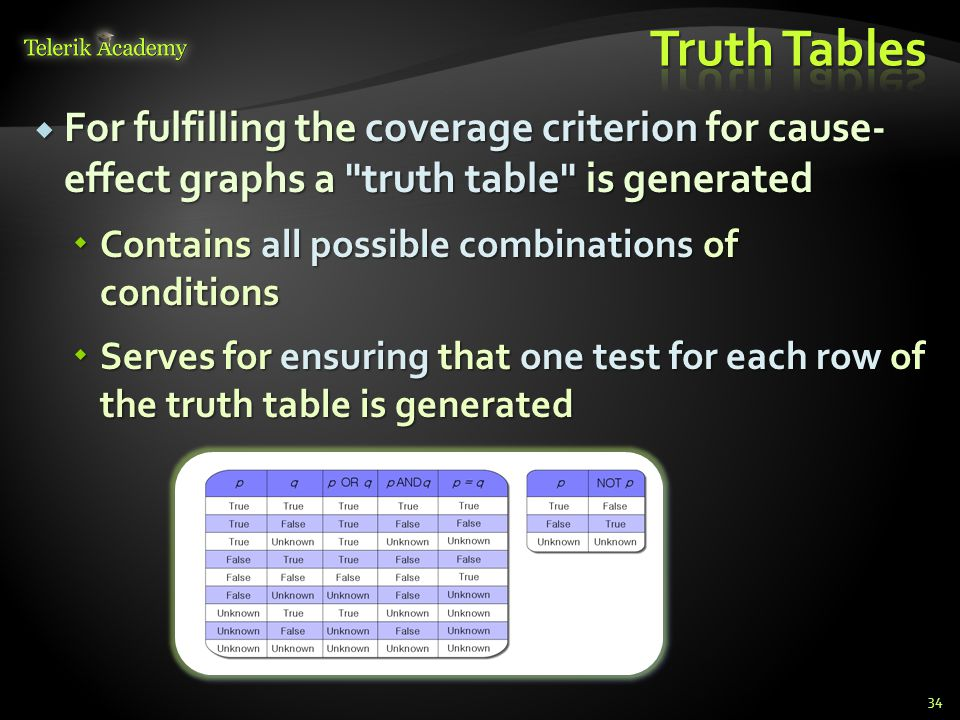 Truth Tables For fulfilling the coverage criterion for cause- effect graphs a truth table is generated.