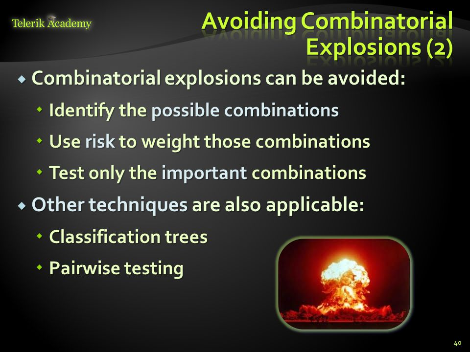 Avoiding Combinatorial Explosions (2)