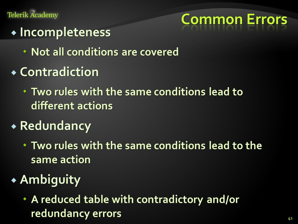 Common Errors Incompleteness Contradiction Redundancy Ambiguity