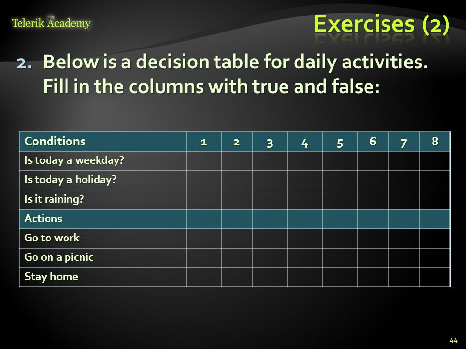 Exercises (2) Below is a decision table for daily activities. Fill in the columns with true and false: