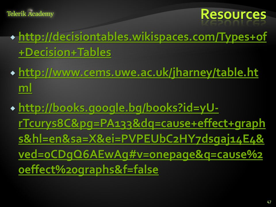 Resources http://decisiontables.wikispaces.com/Types+of +Decision+Tables. http://www.cems.uwe.ac.uk/jharney/table.ht ml.
