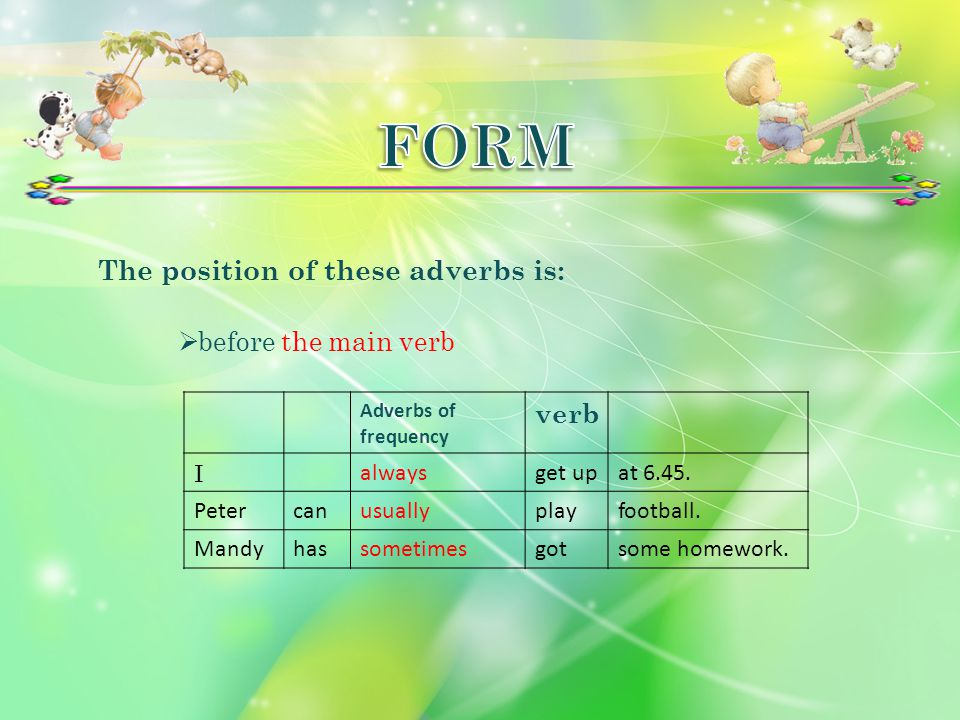 FORM The position of these adverbs is: verb before the main verb I