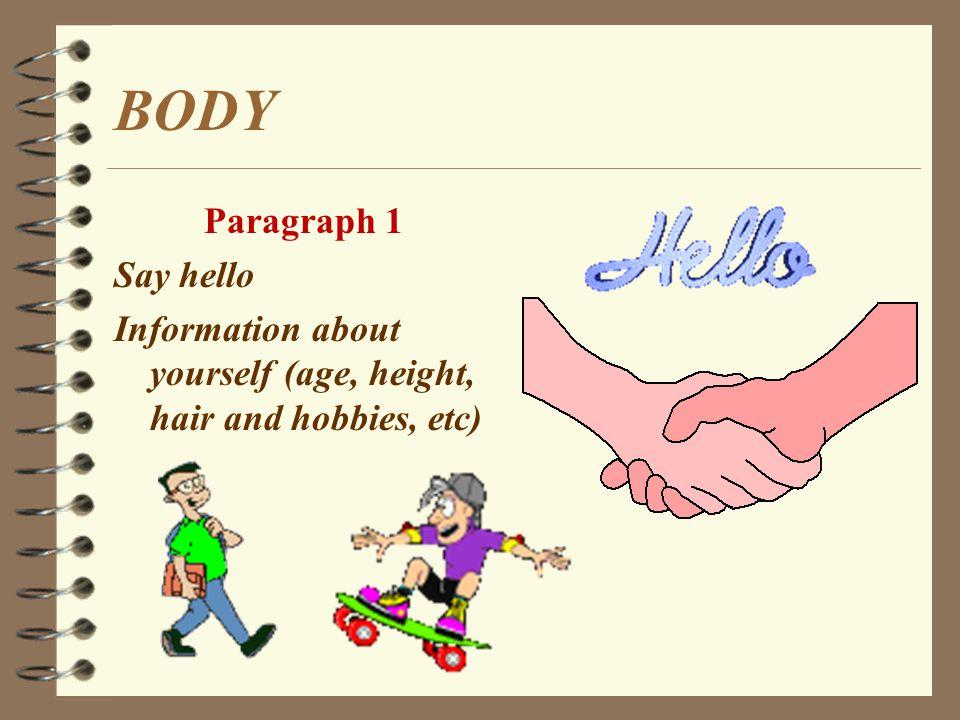 BODY Paragraph 1 Say hello