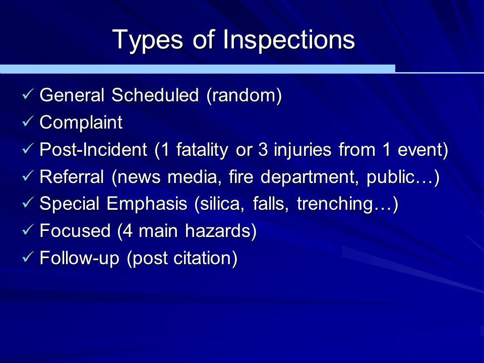 Types of Inspections General Scheduled (random) Complaint