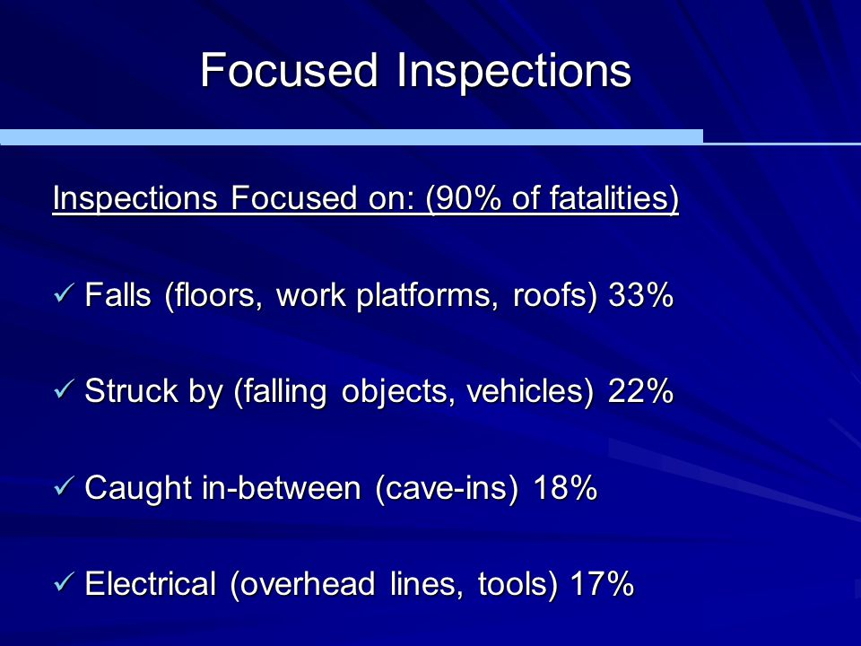Focused Inspections Inspections Focused on: (90% of fatalities)