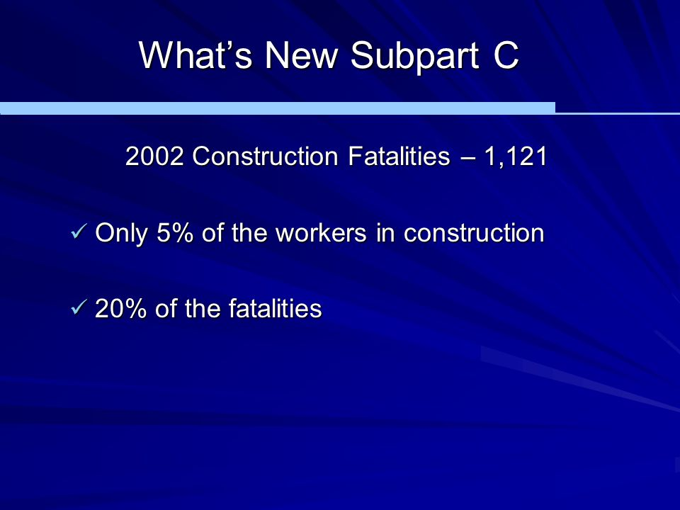 2002 Construction Fatalities – 1,121