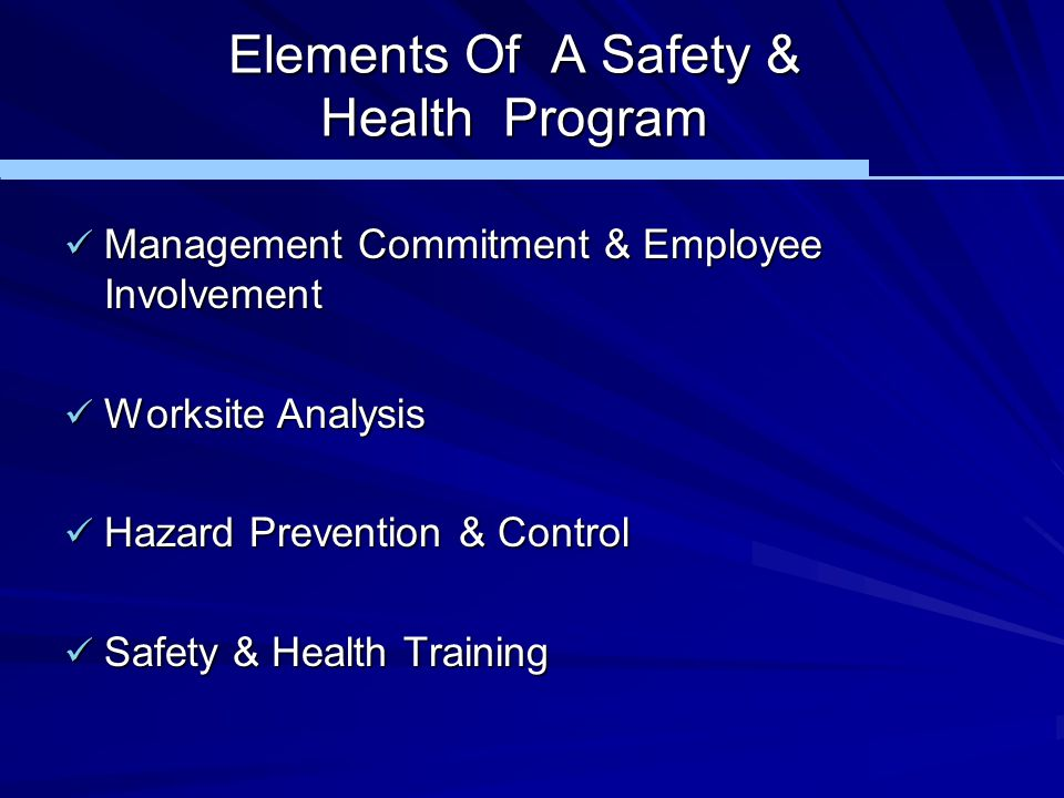 Elements Of A Safety & Health Program
