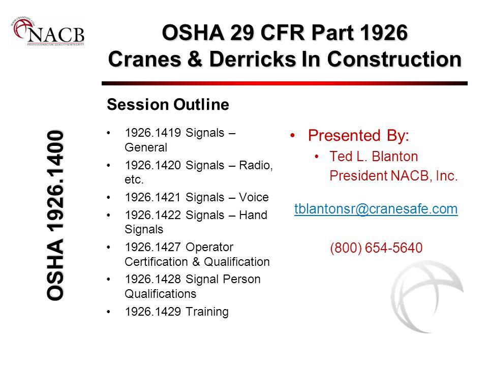 OSHA 29 CFR Part 1926 Cranes & Derricks In Construction